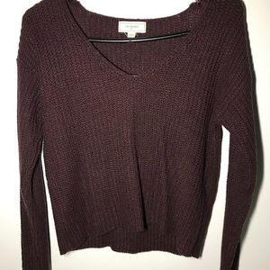 Cozy Plum V-neck Sweater